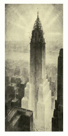 Hugh Ferriss' Art Revisited - Chrysler Building, 1930