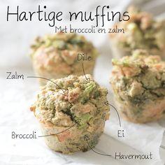 Hartige muffins met broccoli en zalm, een zalige muffin bomvol vitamines en mineralen. Deze hartige muffins eet je als lunch of als bijgerecht