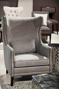 x Nice color and modern update Kingston Wing Chair - Bernhardt Furniture Funky Furniture, Shabby Chic Furniture, Furniture Design, Furniture Stores, Bedroom Furniture, Contemporary Dining Chairs, Contemporary Furniture, White Dinning Chairs, Accent Chairs
