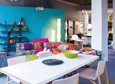 salon , salle a manger, turquoise, colorés, frais