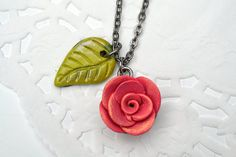 Polymer Clay Necklace  Flower Necklace  by CraftyClayStudio
