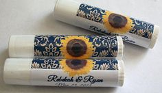 Wedding Bridal Shower Bachelorette Party Sunflower Personalized Lip Balm Tubes  Birthday Party   Party Favors Gift