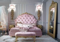chambre baroque blanc-or-rose-ornements-miroir