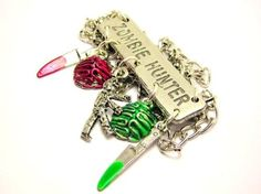 """Zombie Hunter Statement with Zombies, Knives and Brains 18"""" Fashion Necklace ChubbyChicoCharms http://www.amazon.com/dp/B00AL4F6JK/ref=cm_sw_r_pi_dp_7QEoub1DWEVZR"""