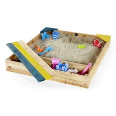 Plum Store-it Wooden Sand Pit is a traditional wooden sand pit with included covered storage section ideal for buckets, spades and sand toys. Outdoor Toys, Outdoor Play, Outdoor Ideas, Wooden Sandbox, Wooden Sandpit With Lid, Building Sand, Sand And Water Table, Bucket And Spade, Scandinavian Nursery