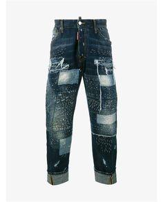 DSQUARED2 Workwear Stitched Patchwork Denim Jeans