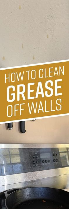 Every time you cook, grease and oil splatter up from your pots and pans and onto the surrounding kitchen walls. Over time, this cooking grease builds up, leavi Homemade Cleaning Supplies, Diy Home Cleaning, Household Cleaning Tips, Cleaning Checklist, Household Cleaners, Diy Cleaners, Cleaning Recipes, Cleaners Homemade, House Cleaning Tips
