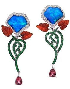 KATHERINE JETTER Poison Berry Earrings 8.48ct hand-carved Australian Opal Flower Petals delicately set in 18K White Gold with diamonds Tsavorite Garnet detail with Fire Opal petals and Pink Tourmaline.