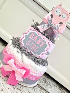 Chevron Owl Diaper Cake, Pink and Gray on Etsy, $59.00