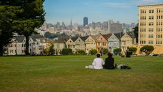 Alamo Square with the Painted Ladies houses and views of San Francisco