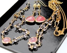 Gold Set  Necklace Bracelet and Earrings Bridal by EverywhereUR, $120.00 #prom #set #gift