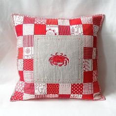 PillowCrab1 (Cottilello) Tags: life red sea food white modern seaside quilt squares linen crab pillow fabric maritime quilted nautical patchwork cushion