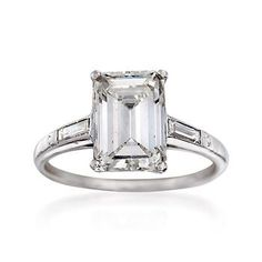 Ross-Simons - C. 1935 Vintage 2.55 ct. t.w. Certified Diamond Engagement Ring in Platinum. Size 5 - #868604