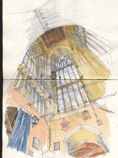 Watercolour Sketch - View up the Church Tower at Crowland Abbey, Norfolk www.nickhirst.co.uk