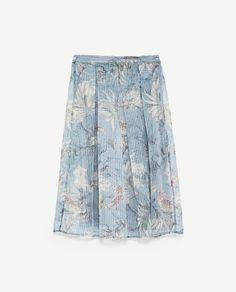 Image 6 of STRIPED AND FLORAL PRINT ORGANZA SKIRT from Zara