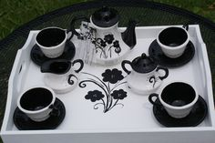 Black and White Tea Set by speeglecreations on Etsy, $59.00