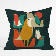 DENY Designs Budi Kwan Flock Of Bird Throw Pillow