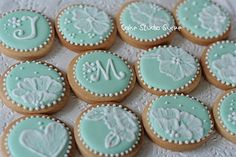 Monogram and brush embroidery cookies