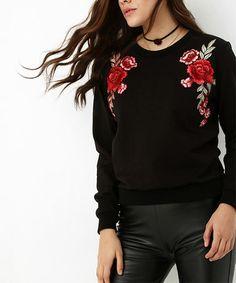 Look at this #zulilyfind! Black & Red Floral Sweatshirt #zulilyfinds