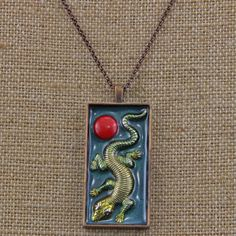 Handmade End of Summer Coral and Lizard Boxed necklace 22 inch Chain by oscarcrow on Etsy