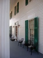 Barrington Hall, front porch - love the green shutters