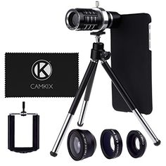 Camera Lens Kit for Apple iPhone 6 Plus  6S Plus ONLY incl 12x Telephoto Lens Fisheye Lens Macro Lens Wide Angle Lens Tripod Phone Holder Holder Ring Hard Case Velvet Bag and Cleaning Cloth ** Check out this great product.Note:It is affiliate link to Amazon.