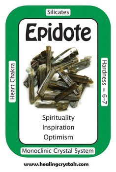 """Epidote, """"I am filled with clarity and light.""""  Epidote is a wonderful crystal to help you achieve your goals. It gives you strength and insights on how to succeed. It is also helpful for those who suffer from agoraphobia (fear of crowds). Epidote detoxifies the emotional and physical body from negativity, releasing past emotional traumas.    Code HCPIN10 = 10% off your order  http://www.healingcrystals.com/Epidote_-_Epidote__Rods___Pakistan_.html"""
