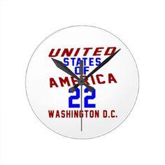 #United States Of America 22 Washington D.C. Round Clock - #giftidea #gift #present #idea #number #22 #twenty-two #twentytwo #twentysecond #bday #birthday #22ndbirthday #party #anniversary #22nd