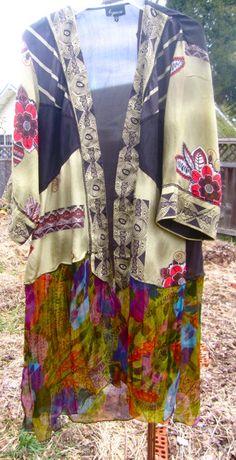 ASIAN-STYLE KIMONO Style Tunic, Silk Lingerie Robe, Tissue Thin Silk, Repurposed Fabrics
