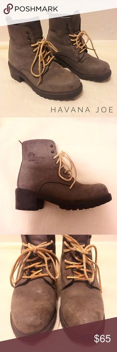 Gray heeled leather work boots Pre owned, but still totally wearable! Leather upper and lining. Thick soles are in excellent condition. Leather color is a cool gray. Heel measures 2 inches tall. Please message me if you have any questions! Havana Joe Shoes Winter & Rain Boots