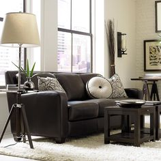 Classic Dark Brown Leather Sofa from Bassett