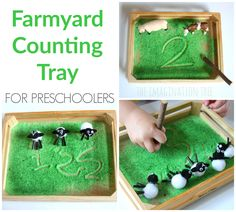 Farmyard Sensory Writing and Counting Tray.lots of mark making ideas on imagination tree What The Ladybird Heard Activities, Eyfs Activities, Nursery Activities, Dear Zoo, Farm Unit, Imagination Tree, Spring Animals, Tuff Tray, Preschool Writing