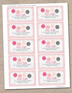 Pom Pom Pink & Gray Printable Diaper Raffle Tickets