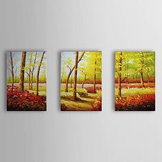 Hand Painted Oil Painting Floral and Trees with Stretched Frame Set of 4 1307-FL0175 – USD $ 99.99