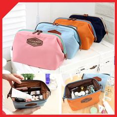 Useful Frame Cosmetic Pouch Makeup Bag Case Travel Organizer Pink Blue Orange | eBay