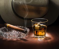 Rum and cigar. Cuban style rum and cigar close up , Good Cigars, Cigars And Whiskey, Rum, Bourbon Quotes, Fun Drinks, Alcoholic Drinks, Beverages, Cocktails, Smoking Images