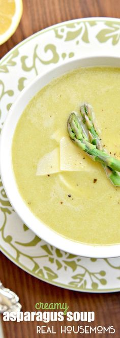 This CREAMY ASPARAGUS SOUP recipe is a great Spring recipe for Easter dinner!