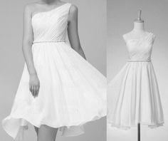 ALine OneShoulder Above Knee Bridesmaid Dress Prom Dress by FM520, $82.50