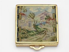 1930's FRANZ VOGELY Patented Petit Point Vintage Compact #FranzyVogelyPetitPoint