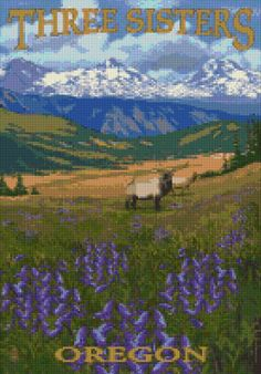 Oregon Three Sisters Mountains travel poster Cross Stitch pattern PDF - Instant Download! by PenumbraCharts on Etsy