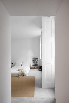 Outstanding bedroom with bed on floor