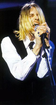 "Kurt Cobain on stage #Nirvana - 2/4/94 - Canal+, Paris, France: During ""Pennyroyal Tea,"" Kurt's guitar began to cut out, and during the bridge in ""Drain You"" it went out completely, at which point Kurt tossed his guitar, gave a deep scream from frustration and finished singing the song without it."