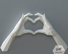 PDF Papercraft Hands, Heart Hands, Declaration of Love, DIY Wedding Decor, Valentine's Day, Origami Heart Hands, I love You, 1st Anniversary