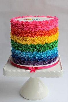 Beautiful ruffled Rainbow Cake