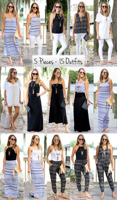 5 Pieces, 15 Outfits with VacayStyle — J's Everyday Fashion Beach Vacation Outfits, Hawaii Outfits, Summer Outfits, Summer Dresses, Vacation Wear, Beach Travel Outfit, Beach Holiday Outfits, What To Pack For Vacation, Beach Vacation Packing List