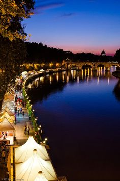 The summer nightlife along the Tiber River in Rome (Trastevere area).