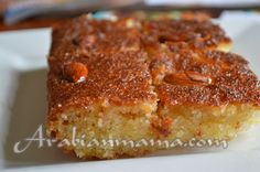 """Basbousa is a term in the Middle east that refers to a very sweet semolina – sort of- cake. Verbally in Arabic we can call our loved ones """"basbousa"""", I sometimes call my little ki… Arabic Dessert, Arabic Sweets, Arabic Food, Middle Eastern Dishes, Middle Eastern Recipes, Gluten Free Desserts, Dessert Recipes, Rice Recipes, Easy Recipes"""