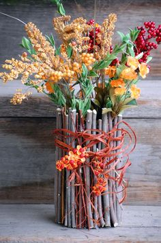 Fall Twig Container Vase by CreationsByShelly