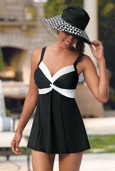 Carol Wior Black & White Twisted Swimdress - As We Change Bathing Beauties, Swim Dress, Swimsuits, Swimwear, Summer Wear, Body, Bathing Suits, Beachwear, Casual Dresses