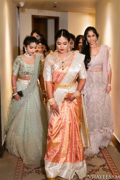 Sohini X Nikhil Shot by Vijay Eesam Half Saree Designs, Bridal Blouse Designs, Lehenga Designs, Saree Blouse Designs, Indian Bridal Sarees, Wedding Silk Saree, Indian Bridal Fashion, Bridal Lehenga, Half Saree Lehenga